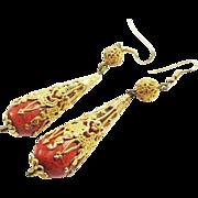 "SALE LAVISH 3 1/4"" Late-Georgian Sponge Coral/12k Drop Earrings, 18.62 Grams, c.1830!"