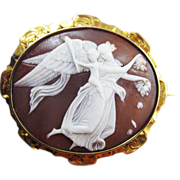 """SALE SUBLIME Mid-Victorian Cameo of Thorvaldson's """"Day"""" in 18k Brooch, c.1860!"""