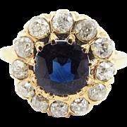 SALE OUTSTANDING Victorian 4.05 Ct. TW Sapphire/OMC Diamond/18k Ring, c.1895!