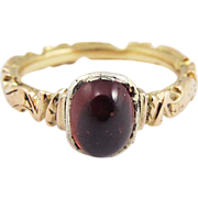 SALE STUNNING Mid-Georgian Garnet/18k Memorial Ring, 4.66 Grams, Dated 1753!