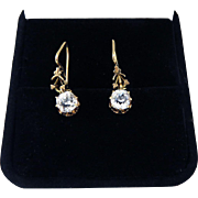 MUST-HAVE High Victorian 2 Ct. TW OMC Paste/12k Gold Solitaire Earrings, c.1875!