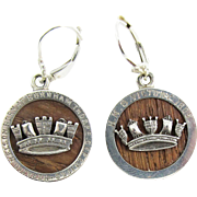 SALE IMPORTANT Pair of Sterling Silver Earrings Set with Timber from the HMS Victory, Lord Nel