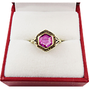 SALE JAZZ AGE Art Deco 2 1/2 Ct. Pink Sapphire Solitaire/14k Ring, c.1925!