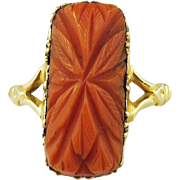 SOLD ROMANTIC Georgian Carved Coral/15k Lover's Ring w/Hair Token Reverse, c.1810!