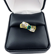 SALE BRILLIANT 1.21 Ct. TW Edwardian Colombian Emerald/OEC Diamond/18k Ring, c.1910!