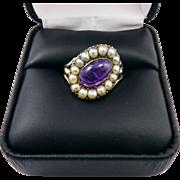 SALE EXQUISITE Georgian Amethyst/Pearl/9k Ring, c.1805!