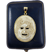 SALE MASTERPIECE Ancient Roman Hand-Carved Theatre Mask Custom-Bezeled in Modern 18k Pendant,