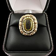 SALE STATELY Late Georgian Hair/Pearl/12k Rose Gold Memorial Ring, 6.15 Grams, c.1830!