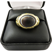 SALE SUPERB Unisex Victorian Egyptian Silver Gilt Ring Set with Ancient Eye Agate, 10.15 Grams
