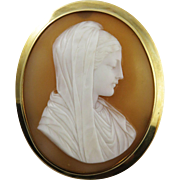 SALE HEAVENLY Italian Shell Cameo of the Virgin Mary Set in 10k & 14k Brooch, c.1870!