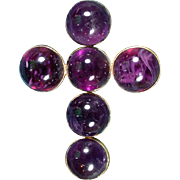 SALE INSPIRATIONAL XL 77.28 Ct. TW Early Victorian Scottish Amethyst Cabochon/15k Cross Brooch