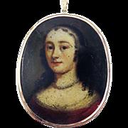 SALE MASTERPIECE XL French Oil on Copper Miniature Portrait of a Noblewoman Mounted in 14k Pen