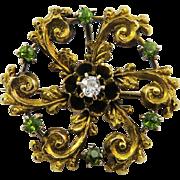 SALE SO FIERY OMC Diamond/Demantoid Garnet/14k Lapel Brooch, c.1890!