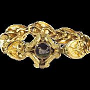 SALE BREATHTAKING Romantic-Era Micromosaic/Pinchbeck Bracelet, Doves & Padlocked Hearts, c.184