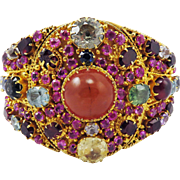 SALE OSCAR WORTHY XL Late Victorian 60+ Ct. TW All-Natural Gem-Encrusted Silver Gilt Cuff Brac