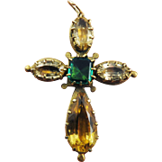 SALE EXQUISITE Georgian 10.27 Ct. TW Jeweled Citrine & Topaz/Pinchbeck Cross Pendant, c.1825!