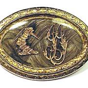 ELEGANT 15k Mourning Brooch for an Aristocrat, c.1780!