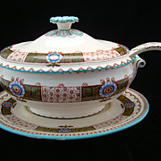 SALE Huge Passion Flower English Soup Tureen, Platter & Ladle 1880