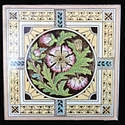 SALE Brown Victorian Tile ~ Thistle 1880