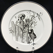 SALE Pierre Mallet Brown Transferware ORNITHOLOGY Plate ~ 1870 #I