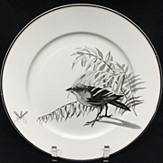 SALE Pierre Mallet Brown Transferware ORNITHOLOGY Plate ~ 1870 #J