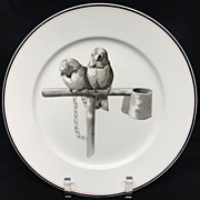 SALE Pierre Mallet Brown Transferware ORNITHOLOGY Plate ~ 1870 #K