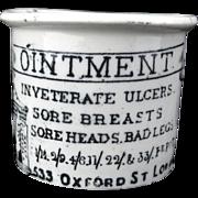 SALE CURE ALL Quack Medicine HOLLOWAY'S OINTMENT Black Transferware 1880 Sore Breasts