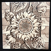 SALE Superb Brown Transferware Tile ~ SUNFLOWER 1885