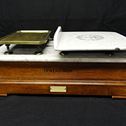 SALE Marble Ironstone Victorian Balance Scale ~ Dairy and Meat Scale ~ 1880
