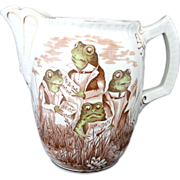 SOLD Extraordinary Polychrome Figural Jug SINGING FROGS Staffordshire England c.1860