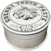SALE Antique English Pictorial Cherries Tooth Paste Pot ~ 1880