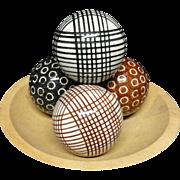 SALE FOUR Victorian Ceramic Scottish Carpet Balls ~ 1860