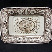 SALE Brown Transferware Miniature Platter Tray ~ SUNFLOWERS 1883