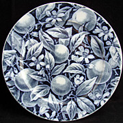 SALE Dark Blue Aesthetic Plate ~ PEACHES 1875