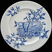 SALE Superb Blue Transferware Plate ~ River Bend 1894