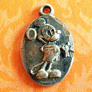 Vintage Disney's Mickey Mouse Sterling Silver Oval Charm