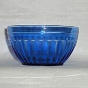"SOLD Hazel Atlas Aurora Pattern Cobalt Blue 4.5"" Wide & 2-3/8"" Deep Bowl"