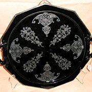 SOLD Cambridge Ebony Keyhole two handled Tray with Apple Blossom etch