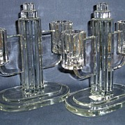 Heisey Ridgeleigh Pair of Two Light Candlesticks