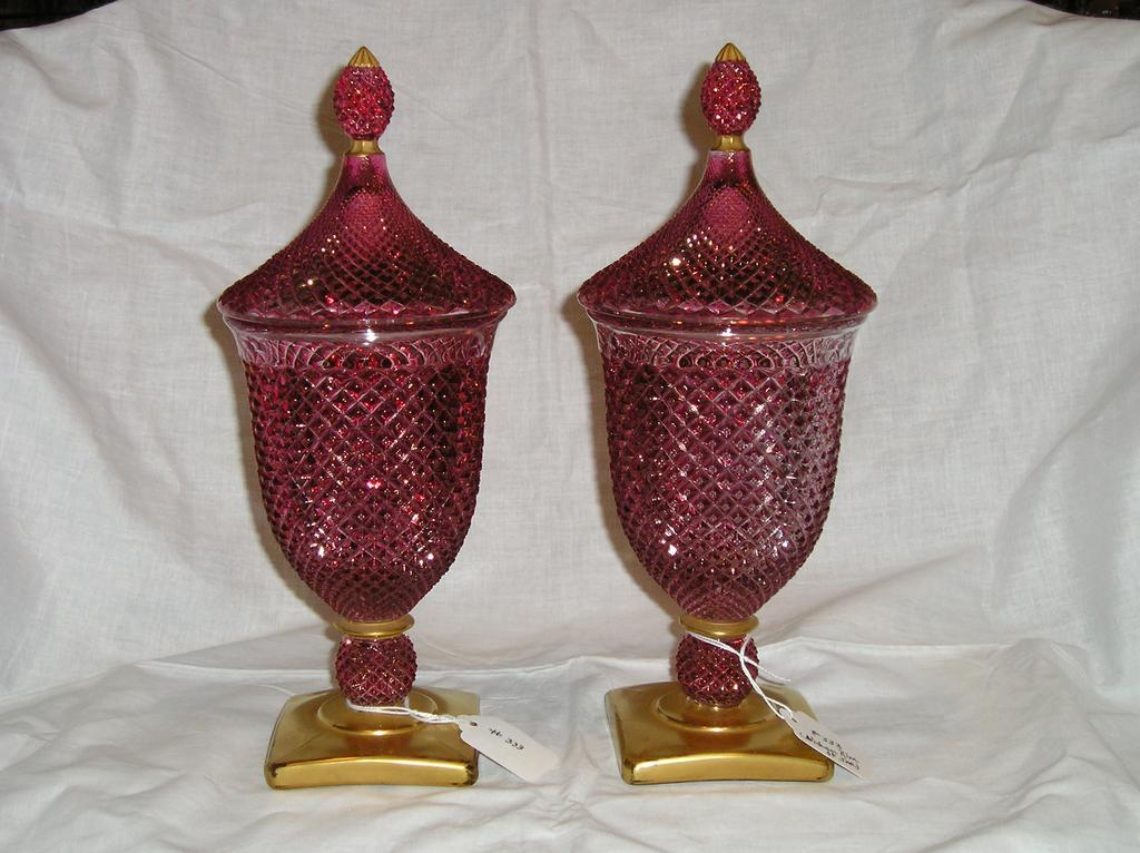 Westmoreland English Hobnail Master Candy Ruby Flashed w/ Gold Trim