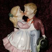 SOLD Vintage Aladdin porcelain TV lamp, night light - CUTE girl and boy doll figurine