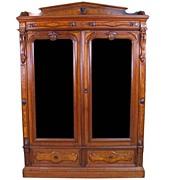 Renaissance Revival Burl Walnut Bookcase