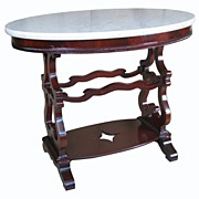 Antique Mahogany Marble Top Table