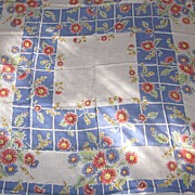 "1950's Flowered Linen 52""x52"" Tablecloth and Four Matching Napkins"