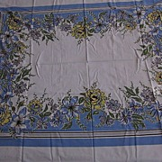 """1960's Linen, 50""""x60"""" Blue, Green, Yellow and White Tablecloth"""