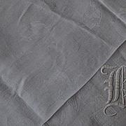 "68""x72"", ""H"" Monogram  Damask Linen Table Cloth"