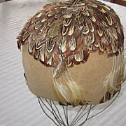 One Of A Kind Jack McConnell Beige Felt, Pheasant Feathers Cloche