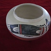 SOLD Hopi Polychrome Bird Flat Bowl, American Indian Pottery, Signed TL