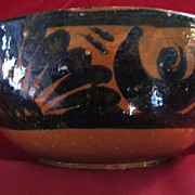Tlaquepaque Glazed Redware Bowl with Black Decoration