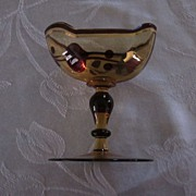 Gold Decorated Stemmed Amber Glass Boat Shaped Cup Thing